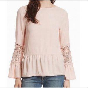 "NWT Joie lace detail peplum blouse ""Emelda"" pink"